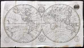 Walker, John 1815 Antique Map of World Hemispheres