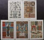Dolmetsch, Heinrich 1895 Lot of 5 Design Prints. Gothic