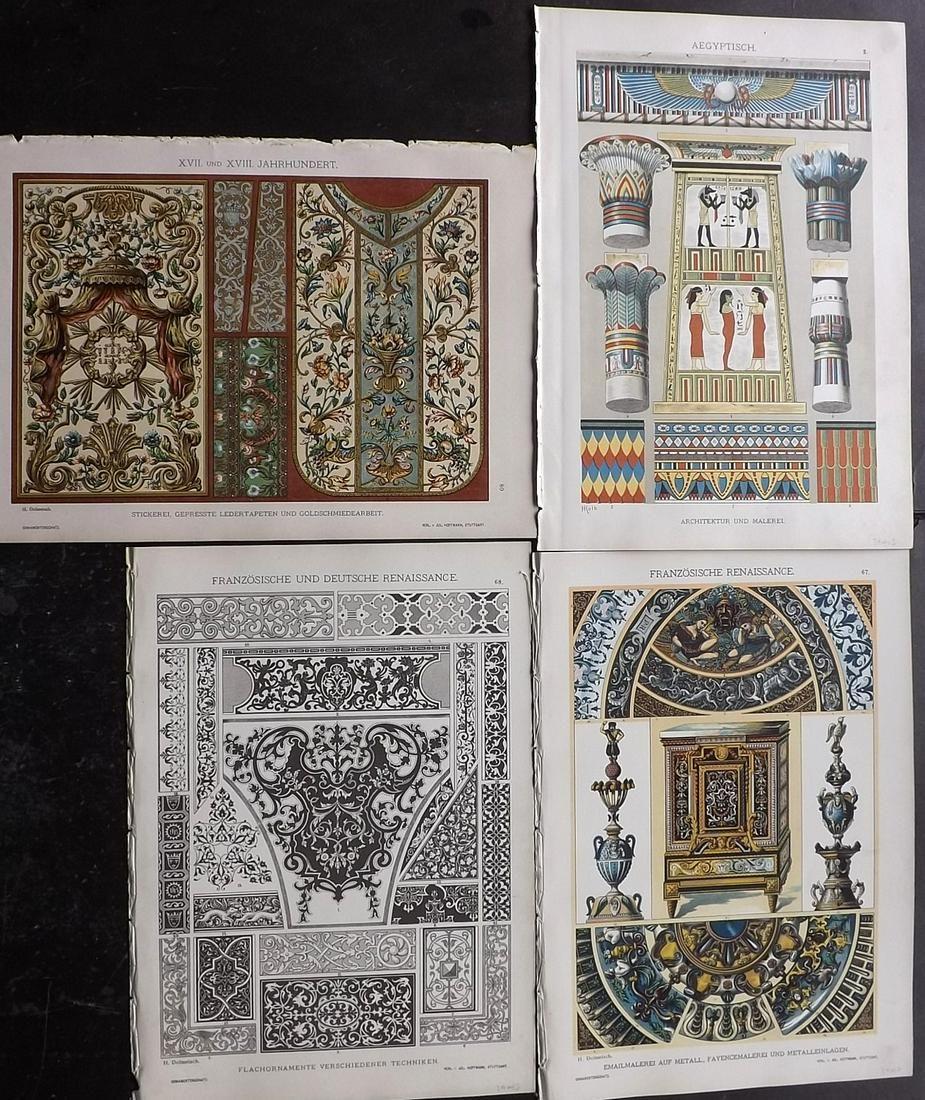 Dolmetsch, Heinrich 1895 Mixed Lot of 4 Design Prints