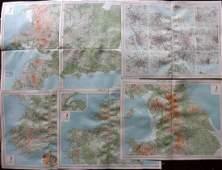 Bartholomew, John 1922 Lot of 6 LG Maps of UK & Ireland
