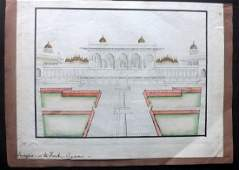 India 19th Cent. Original Art. Fort at Agra. Gold