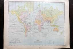 Bryce James 1881 Antique Map of World Ocean Currents