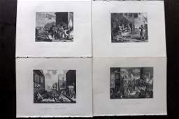 Hogarth William C1880 Lot of 4 Prints The Invasion