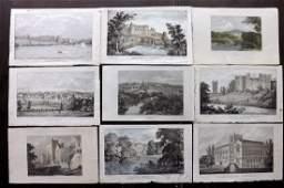 Shropshire C181030 Lot of 9 Hand Col Prints British