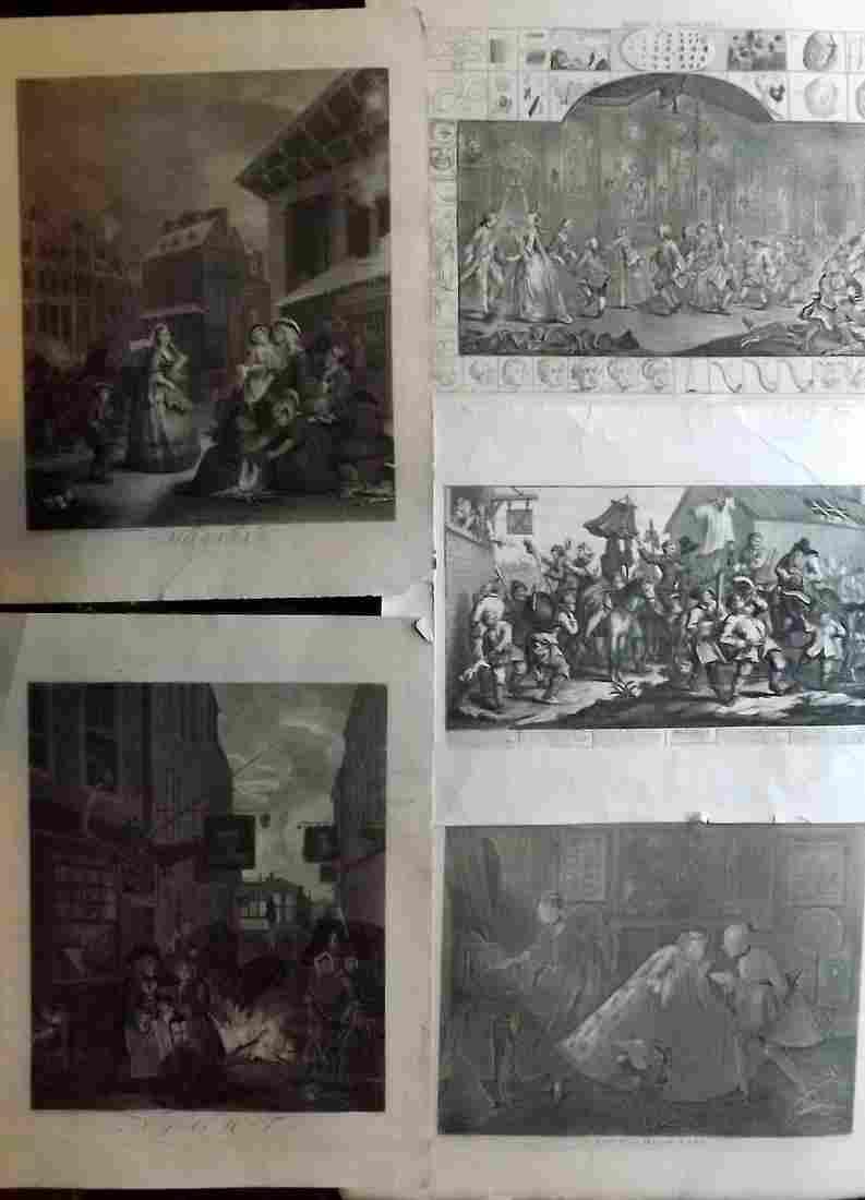 Hogarth, William C1835 Lot of 5 Large Folio Prints