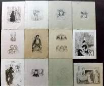 Original Art 19th Cent. Lot of 12 Pen & Ink Drawings