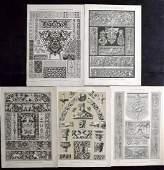 Dolmetsch Heinrich 1895 Lot of 5 Design Prints