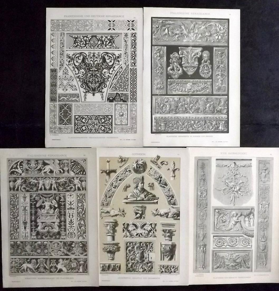 Dolmetsch, Heinrich 1895 Lot of 5 Design Prints