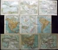 Brockhaus Pub 1890s Mixed Lot of 9 Maps