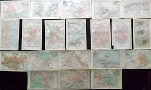 Brockhaus (Pub) 1890's Mixed Lot of 20 Maps. City Plans