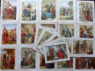 Religious C1860 Lot of 22 Folio Color Prints