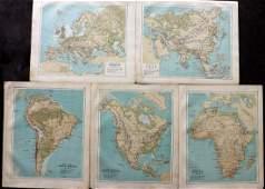 Bartholomew John 1889 Lot of 5 Continents  Maps