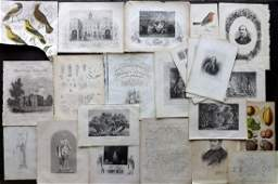 Mixed Prints 19th Cent Lot of 20 Engravings