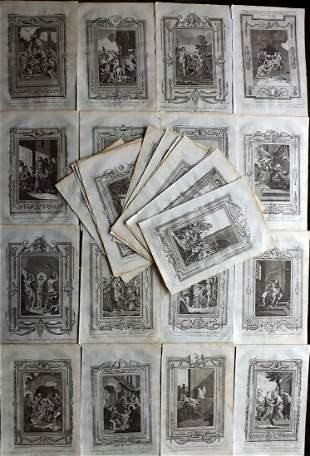 Religous C1780 Lot of 32 Folio Copper Plates by Wright