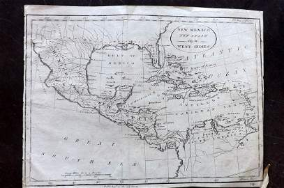Lochhead (Pub) 1811 Rare Map. Mexico, West Indies, USA