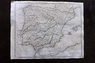 Encyclopedia Britannica 1810 Map of Spain& Portugal