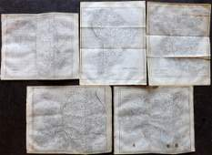Hall, Sidney C1850 Set of 5 Continent Maps