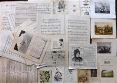 Mixed Prints, Sheet Music & Adverts 19thC. Lot of 50