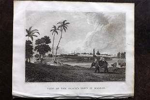 Clarke, J. W. 1825 Print. Black's Town at Madras, India