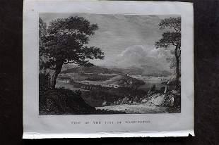 Clarke, J. W. 1825 Print. View of Washington, USA