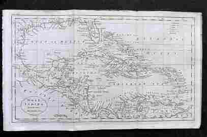 Guthrie, William 1798 Map. West Indies Caribbean