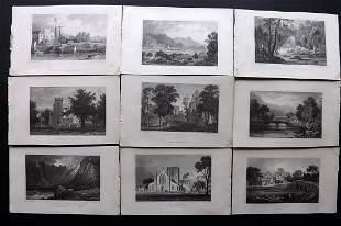 Gastineau, Henry 1830 Lot of 9 British Views. Wales