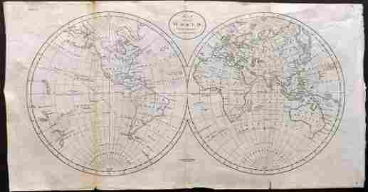 Guthrie, William 1798 Map. World Hemispheres