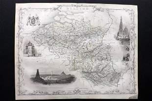 Tallis, John (Pub) 1852 Map. Belgium