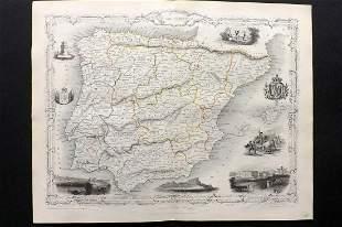 Tallis, John (Pub) 1852 Map. Spain and Portugal