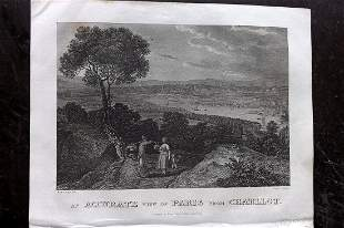 Clarke, J. W. 1822 Print. View of Paris, France
