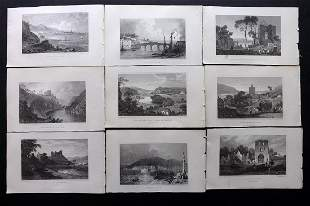 Gastineau, Henry 1830 Lot of 9 British Views. Wales