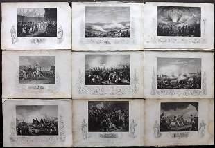 Tallis (Pub) 1854 Lot of 9 Military Prints