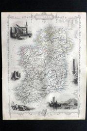 Tallis, John (Pub) 1852 Map. Ireland