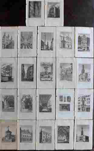 London 1829 Lot of 22 Views by Brayley