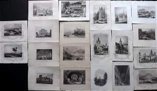 World Views C1830-60 Lot of 20 Steel Engravings