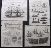 Russell, S. (Pub) 1806 Lot of 4 Ship Prints