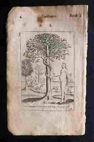 Quarles, Francis 1709 Emblem Print. Adam & Eve
