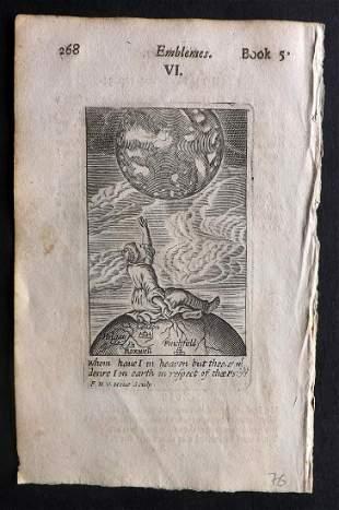 Quarles, Francis 1709 Emblem Print. Heaven & Earth