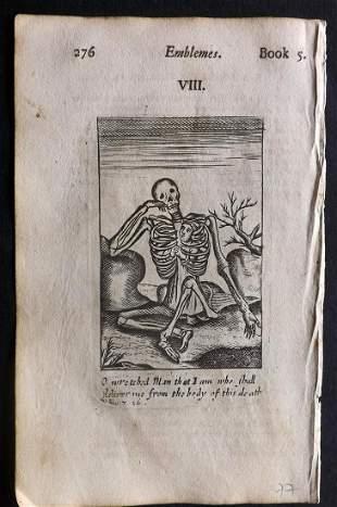 Quarles, Francis 1709 Emblem Print. Skeleton