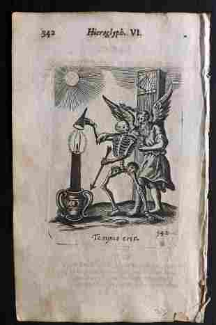 Quarles, Francis 1709 Emblem Print. Skeleton & Satan