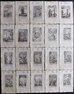Quarles, Francis 1709 Lot of 20 Emblem Prints