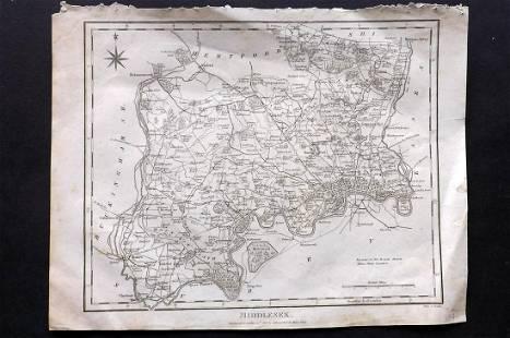Wilkes, John 1811 Map. Middlesex London