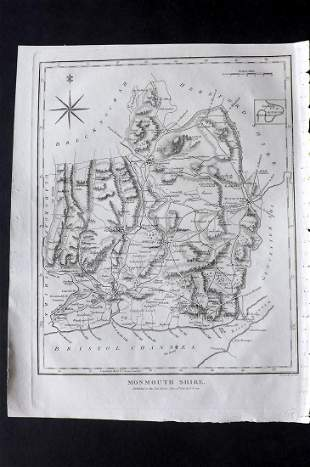 Wilkes, John 1817 Map. Monmouthshire, Wales