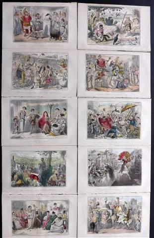 Leech, John C1850 Lot of 10 Hand Col Satire Prints