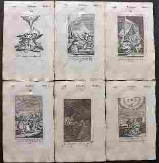 Quarles, Francis 1709 Lot of 6 Emblem Prints