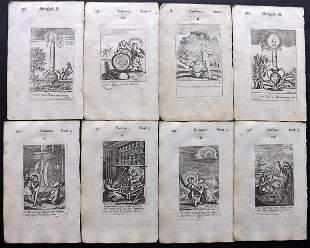 Quarles, Francis 1709 Lot of 8 Emblem Prints