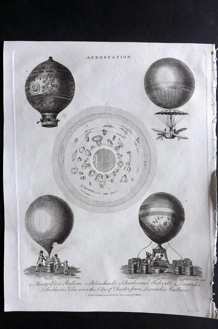 Wilkes, John 1803 Print. Aerostation Hot Air Balloon