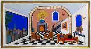 Fanch Ledan Contemporary Lithograph of Interior