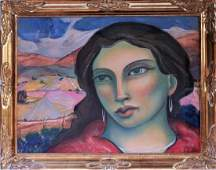 Miguel Martinez Velarde Woman Pastel Oil Painting
