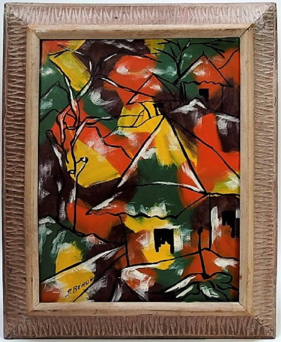 Paul Beauvoir Haitian Village Abstract Painting
